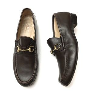 Gucci Mens Leather Gold Horsebit Loafers 12.5 D